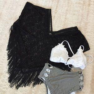 Other - Black Crochet Poncho/Swim Cover with Fringe Hem